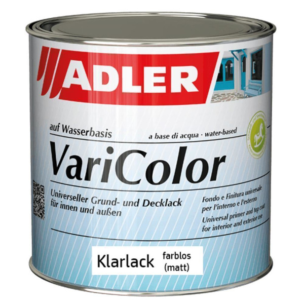 Adler Varicolor Klarlack Farblos matt | Acryllack für Außen und Innen