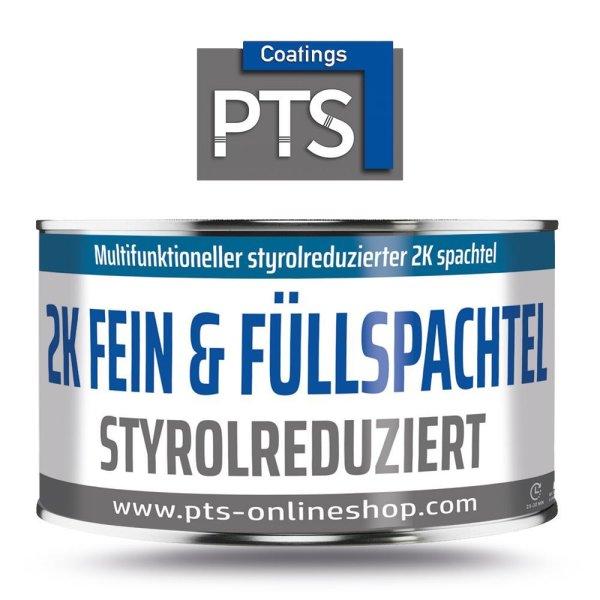 2K Fein und Füllspachtel | Hochweißer Polyester-Feinspachtel + Härter Weiß / Rot