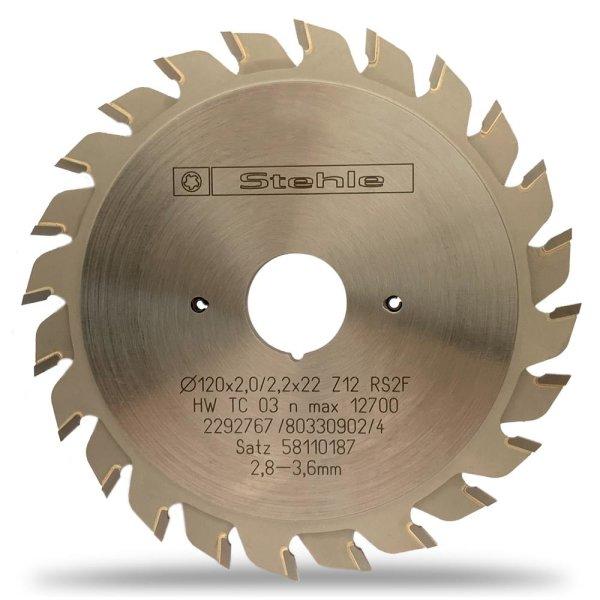 Stehle Ritz-Kreissägeblätter HW - 120x2,8-3,6x22mm Z2x12 RS2 Flachzahn mit verstellbarer Schnittbreite
