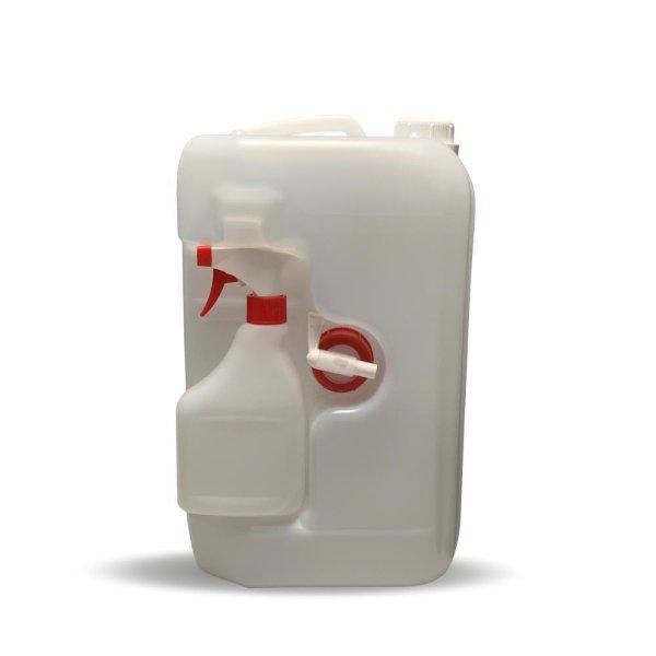 Kunststoff Kanister HDPE natur 10 Liter mit 0,5L Flasche und Ablasshahn - Leer | OV 45 rechteckig