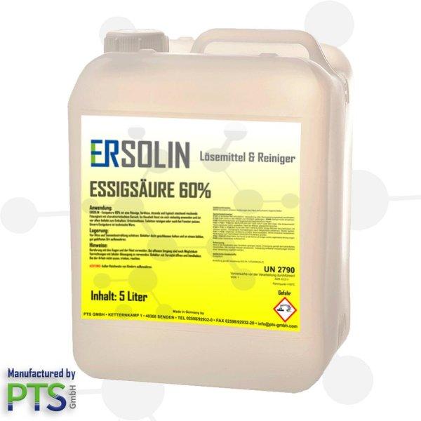Essigsäure 60%   Entkalker   Ersolin   Essig   Reiniger   technisch - 5 Liter