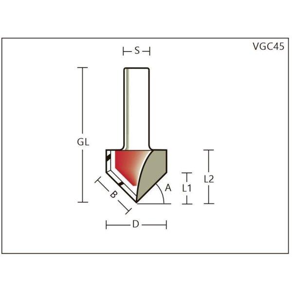 V-Nutfräser/Gipskartonfräser HWZ=2