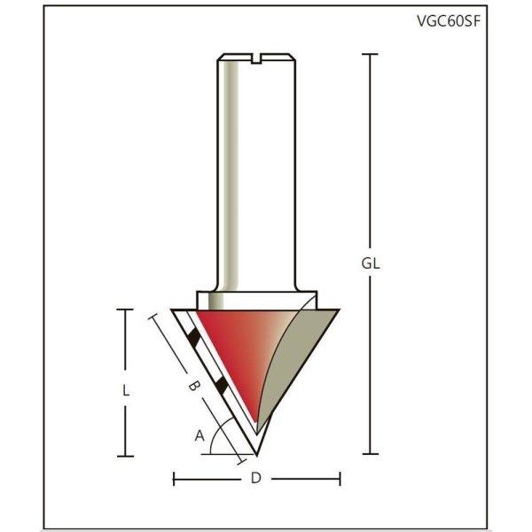 V-Nutfräser/Schriftenfräser HW Z=1